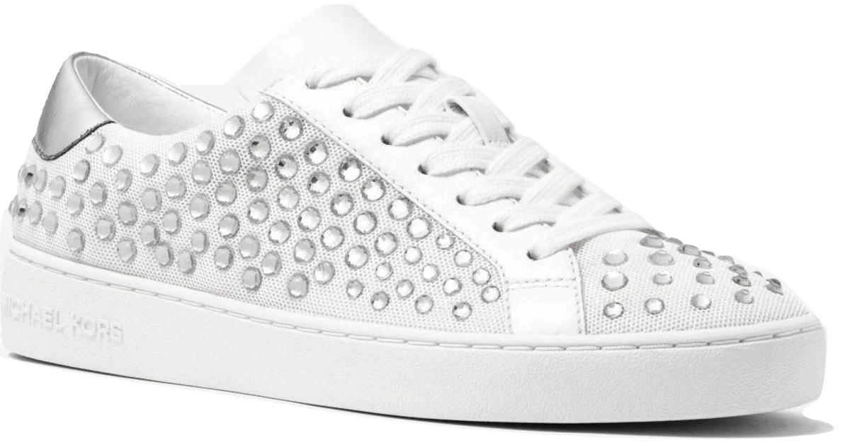 69ab6bd8e7b7 57. 57. MICHAEL Michael Kors Irving Embellished Mesh Sneakers Optic White