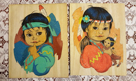 Vintage Native American Indian Children Hand Painted Cloth Pictures Wall... - $35.00