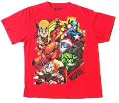 Collectible Marvel Multi-Character T-Shirt Red Size Large ( 42/44 ) - $7.99