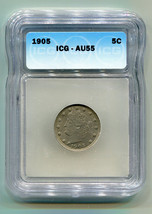 1905 LIBERTY NICKEL ICG AU55 CHOICE ABOUT UNCIRCULATED CH. AU NICE ORIGI... - $72.00