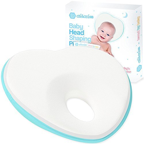 Newborn Baby Pillow, Memory Foam Cushion for Flat Head Syndrome Prevention and H