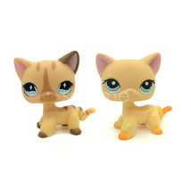 2pcs #886 #339 RARE Littlest Pet Shop LPS yellow Cream Short Hair CAT Ki... - $19.99