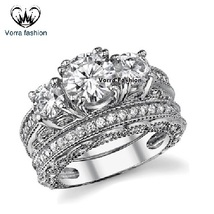 Three Stone Bridal Ring Set Round Cut CZ White Gold Plated 925 Sterling Silver - $82.99