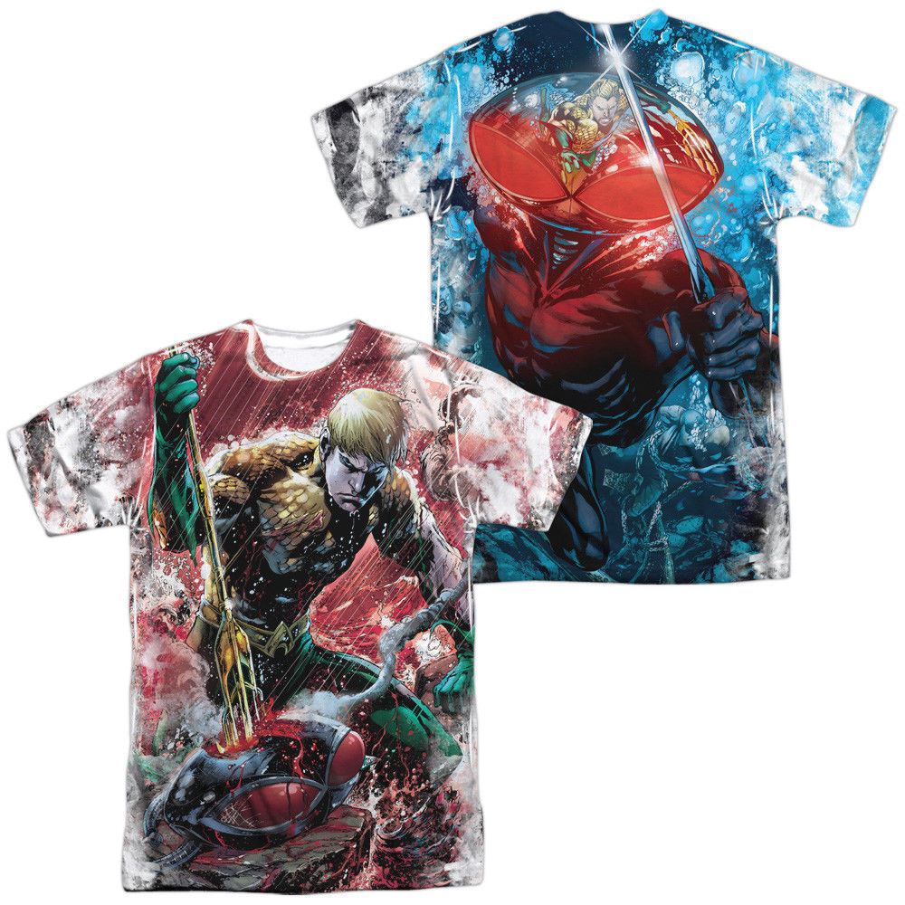 Primary image for Justice League America JLA Aquaman Vs Black Manta Sublimation Front Back T-shirt