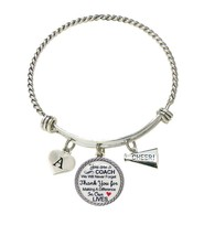 Custom Cheer Coach Thank You Gift Wire Bracelet Jewelry Choose Initial C... - $14.87