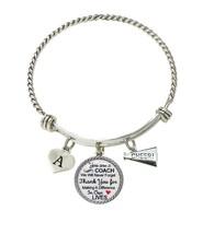 Custom Cheer Coach Thank You Gift Wire Bracelet Jewelry Choose Initial Cheerlead - $15.99