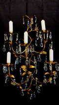 Large Italian Gold Gilt Tole Sconce Crystal Candelabra Paris Hollywood Chic - $225.00