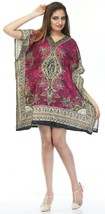 Short Ravishing Printed Kaftan~Beachwear V-Neck Caftan Tunic~Free Size - $9.12