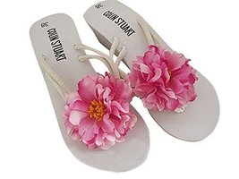 Fashion Summer Item, Purple Pink Hibiscus Flip Flop Beach Casual Sandals