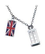 Doctor Who Union Jack Phone Booth Tardis 2 Charm Pendant Costume Necklac... - €24,08 EUR