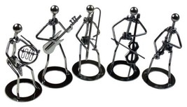 Recycled Metal Jazz Band Figurines Set of 5 Tuba Cello Saxophone Guitar ... - $29.99