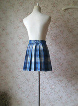 Navy Plaid Skirt Outfit Women Girl Pleated Plaid Skirt Navy Plaid Mini Skirts image 7