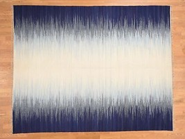 "8'1""x10'3"" Hand Woven Flat Weave Ocean Burst Design Durie Kilim Rug G39495 - $492.03"