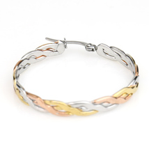Inter-Woven Tri-Color Silver, Gold & Rose Tone Hoop Earrings- United Elegance image 4
