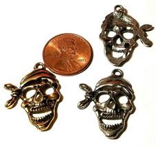 Large Pirate Skeleton Skull Fine Pewter Pendant 19.5mm L x 22.5mm W x 2.5mm D image 2