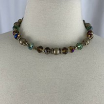 Napier Faceted Glass Beaded Necklace Multicolor Gold Tone Collar Length - $19.75