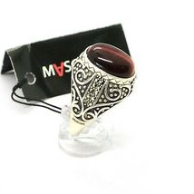 925 Silver Ring with Tiger's Eye & Marcasite Made in Italy by Maschia image 4