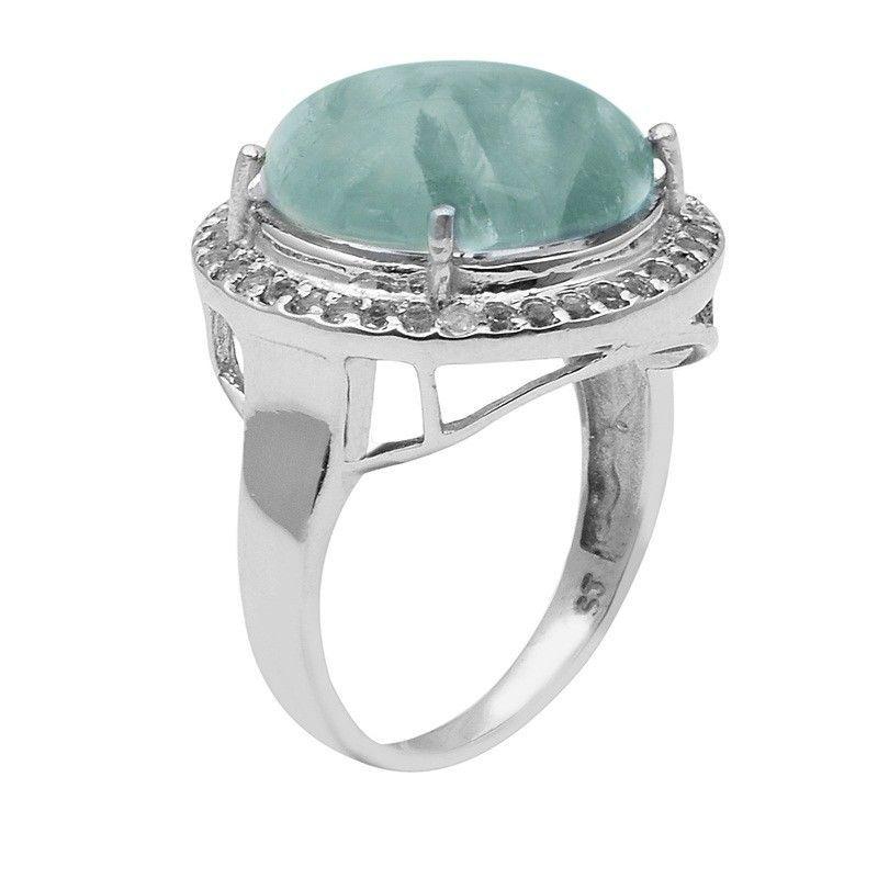 Prehnite & White Topaz 925 Sterling Silver Ring Shine Jewelry Size-9.5 SHRI1493