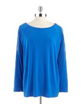 MICHAEL KORS Zipper Accented 3/4 Down Sleeve Blue Sweater ( Plus-1X ) NWT $99.00 - $50.49