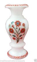 "12"" White Marble Flower Vase Hakik Floral Inlay Handmade Decor Patio Art Gift - $246.77"