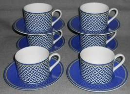 Set (6) Victoria & Beale WILLIAMSBURG PATTERN Cups and Saucers - $89.09