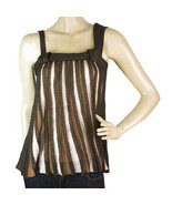Missoni Beige Gray Striped Sleeveless Knit Blouse Top Sz 38 IT - $127.71