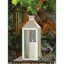"""stainless steel Silver 15"""" tall Candle holder Lantern malta table lamp l... - $26.54"""