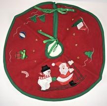 "Christmas Tree Skirt Mini Felt Embroidered Applique Red Green Trim 12"" - $10.86"