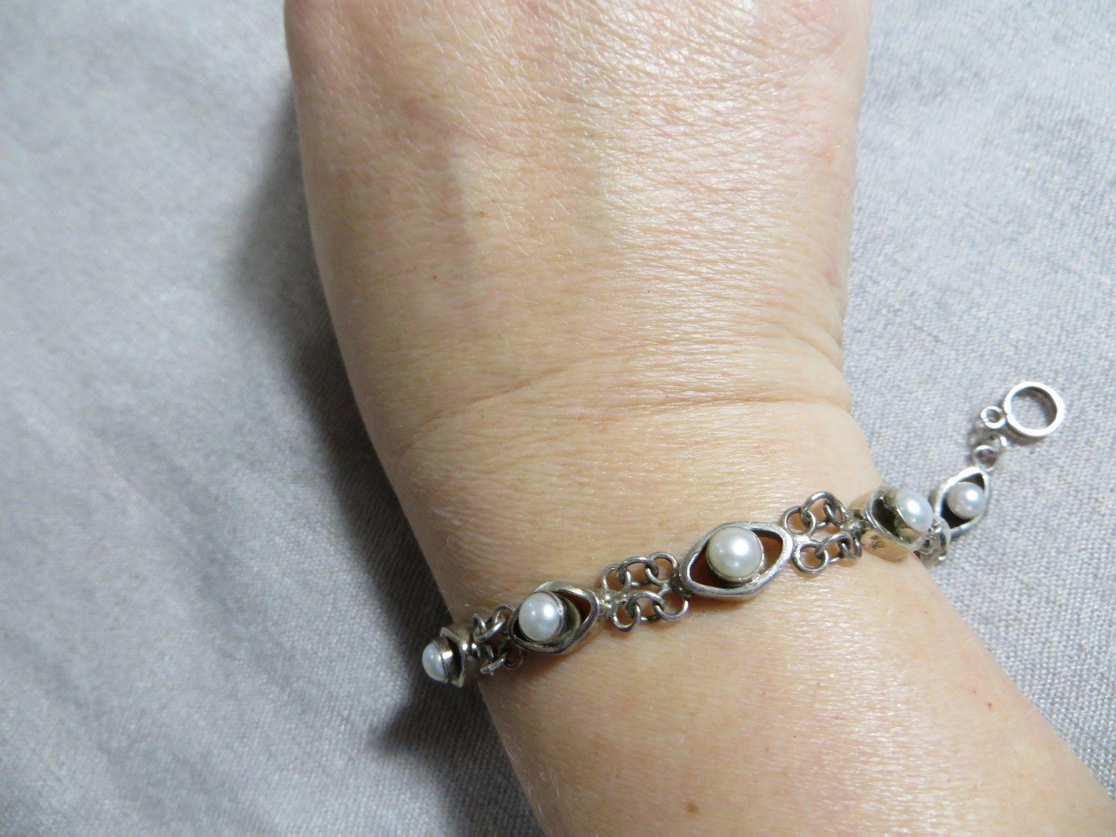 "Old Vintage Sterling Silver Art Deco White Round Pearls Oval Link Bracelet 7.5"""