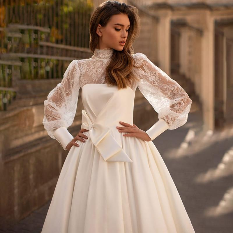 Eightree long sleeve lace wedding dresses satin 2 pcs bridal dress high nech a line 2021