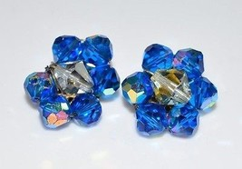 VTG Aurora Borealis Blue Clear Crystal Silver Toned Cluster Clip Earrings - $24.75