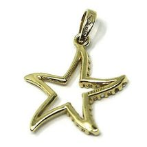 SOLID 18K YELLOW GOLD PENDANT STAR WITH CUBIC ZIRCONIA, 19mm, 0.75 inches image 2