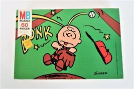 Milton Bradley Peanuts Puzzle Charlie Brown Baseball Bonk 60 PC Vtg Complete - $19.99