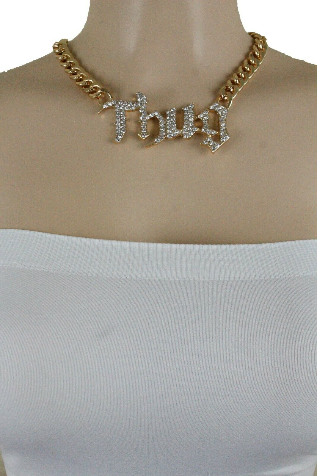Chic Femme Métal or Sexy Hip Hop Mode Bling Argent Collier Thug Pendentif image 4