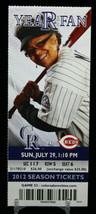 Colorado Rockies vs Cincinatti Reds MLB Ticket w Stub 07/29/2012 Year Fan - $8.17