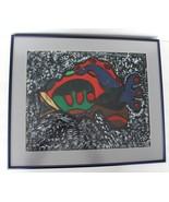 "Original Painting Fish Signed Tunji Idowu Folk Art 2001 Primitive 18x21""... - $39.59"