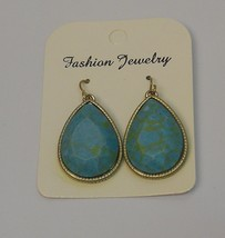 Women's Turquoise Teardrop Earrings Drop Dangle Gold Tones Hook Fasteners  - $8.97