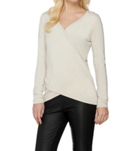 Womens Sweater M XL H by Halston REVERSABLE Wrap Top Long Sleeve Stone L... - $15.99