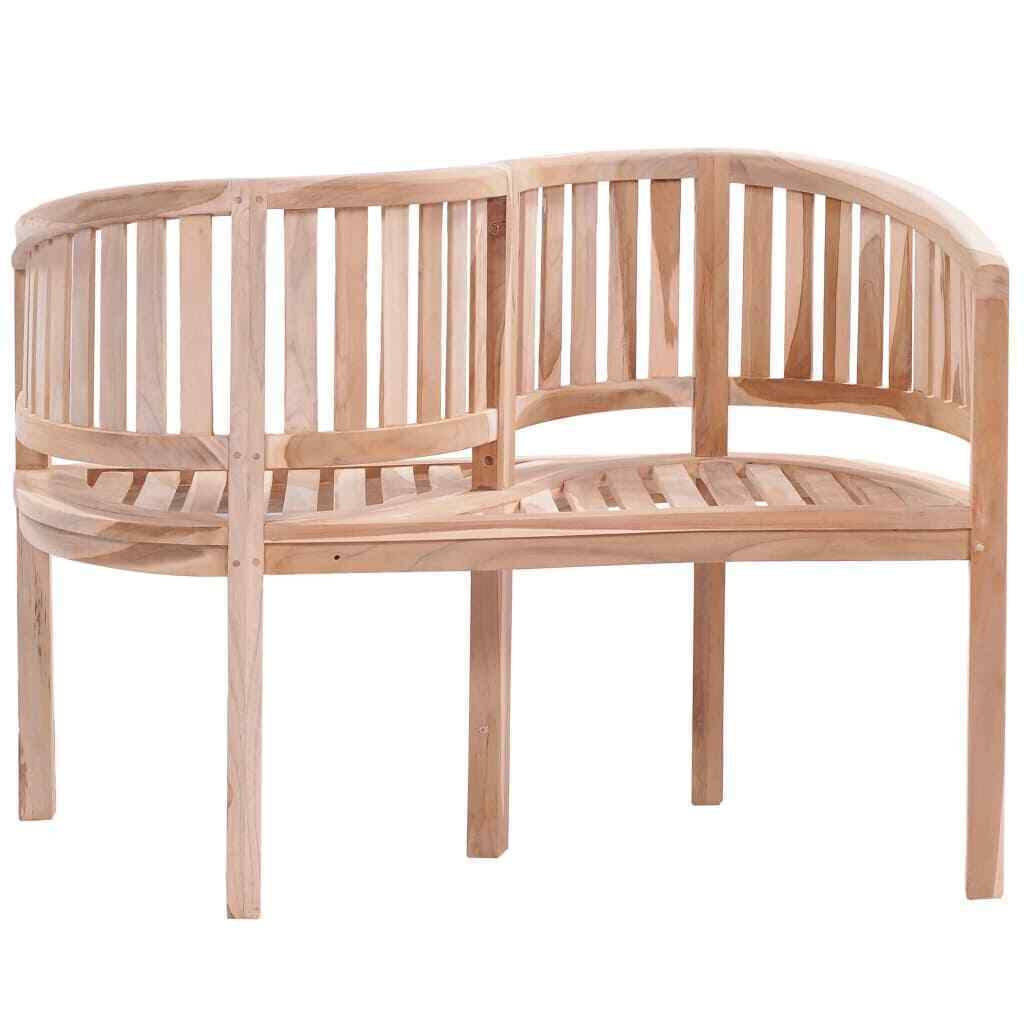 "vidaXL Solid Teak Garden Bench S-shaped 47.2"" Patio Love Companion Seat Chair image 2"