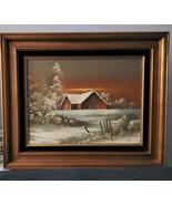 Everett Woodson Oil on Canvas, Barn,Snow,Landscape,Country,Trees & Barn ... - $135.00