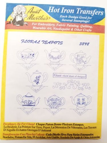 Aunt Martha's Hot Iron Transfers 7 Uncut Packages Floral Butterflies Beach