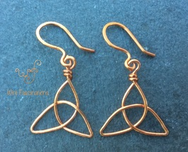 Handmade copper earrings: celtic trinity knot - $15.00