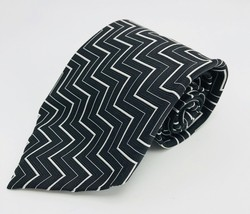"Polo Ralph By Lauren Men's 100% Silk Tie Black White Geometric 4"" x 57.5"" - £12.46 GBP"