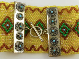 Seed Beaded BRACELET in Yellow Turquoise Green Brown and Sterling Silver... - $175.00