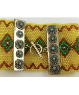 Seed Beaded BRACELET in Yellow Turquoise Green Brown and Sterling Silver... - $234.43 CAD