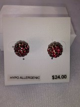Charter Club Gold Red Crystal Hypo Allergenic Stud Earrings - New - $11.88
