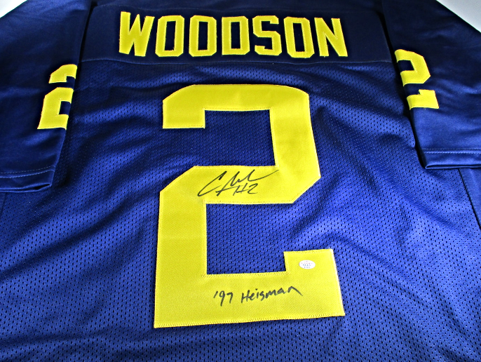 best service 9759d 9d367 CHARLES WOODSON - MICHIGAN WOLVERINES - HAND SIGNED CUSTOM FOOTBALL JERSEY  - COA