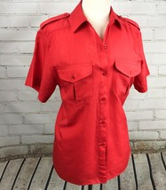 DIANE VON FURSTENBERG Shirt Button Down Top Blouse Size 6 Short Sleeve Red - £23.97 GBP