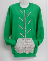 One of a Kind~Green Sz XL Sweatshirt Embellished/Appliqued w/Mah Jongg T... - $25.00