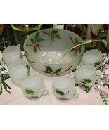 Federal Glass Frosted Holly Punch Bowl With Twelve Cup And Ladle - $27.72